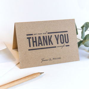 Kraft Wedding Thank You Card