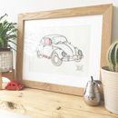 Textile Framed Picture 1960's Beetle