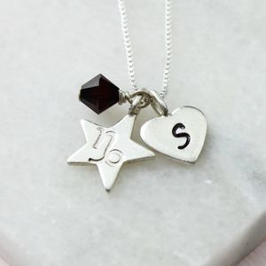Personalised Zodiac And Crystal Birthstone Necklace