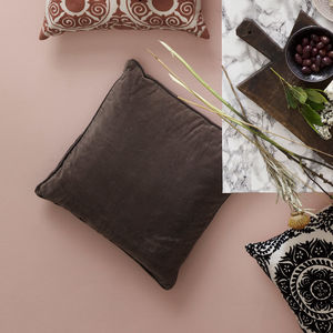 Velvet Chocolate Brown Square Cushion - living room