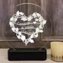 Personalised Floral Heart Wreath Table Light
