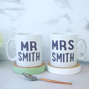 Personalised Mr And Mrs Wedding Mugs