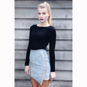 Ida Asymmetric Denim Skirt - women's fashion