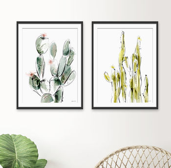 Cactus Prints Set Of Two