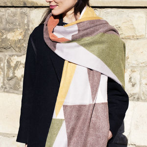 Personalised Blocks Geometric Cashmere And Modal Scarf - gifts for her