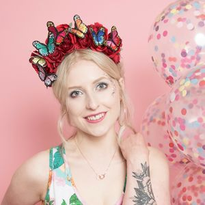 Floral Crown With Butterflies - hats & fascinators