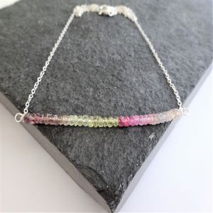 Multi Sapphire Necklace In Sterling Silver