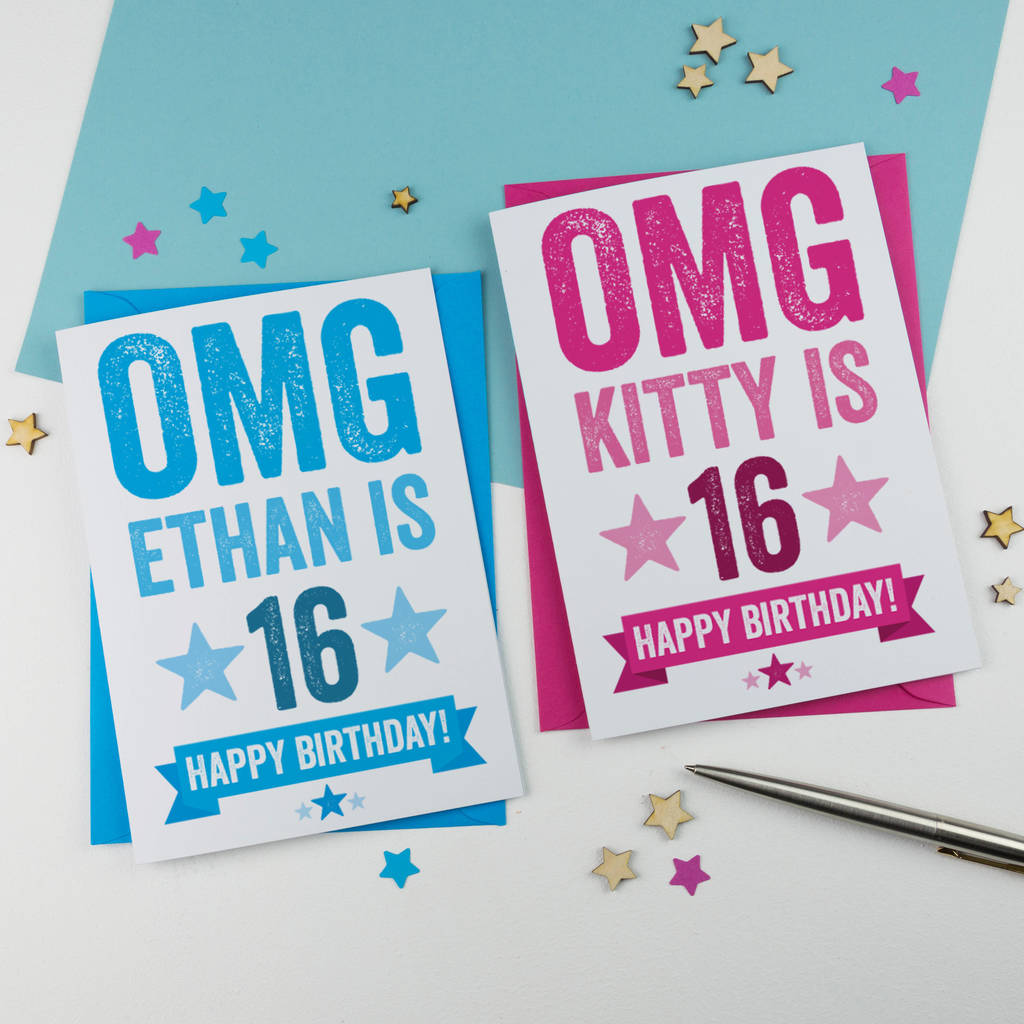 Personalised 16th birthday card by a is for alphabet personalised 16th birthday card m4hsunfo