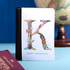 Personalised Passport Holder With Botanical Lettering - gifts sale