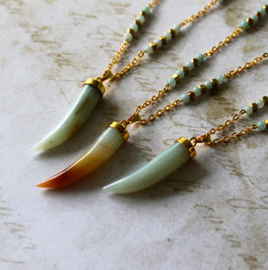 Children's Amazonite Horn Pendant Necklace