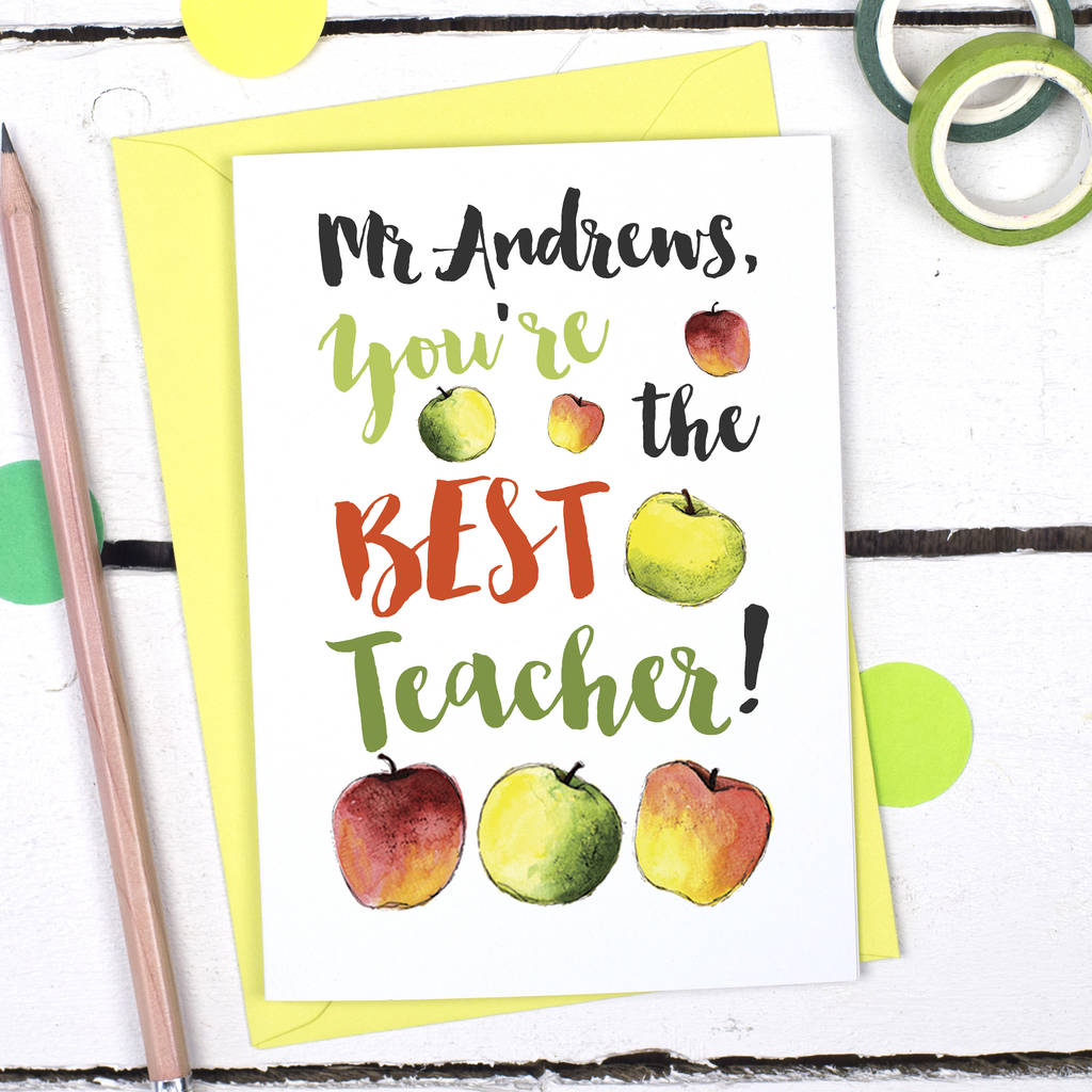 personalised you're the best teacher thank you card by alexia claire