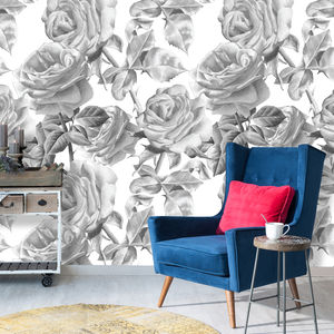 Black And White Roses Self Adhesive Removable Wallpaper - wallpaper
