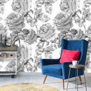 Black And White Roses Self Adhesive Removable Wallpaper