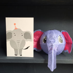 Elephant Paper Balloon Greeting Card