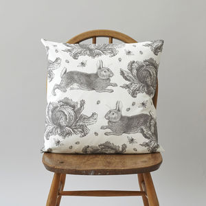 Grey Rabbit And Cabbage Cushion - cushions
