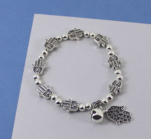Hamsa Hand Bracelet With Bell Charm - what's new