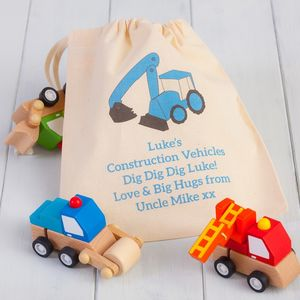 Three Wooden Wind Up Digger Toys And Personalised Bag - top traditional toys