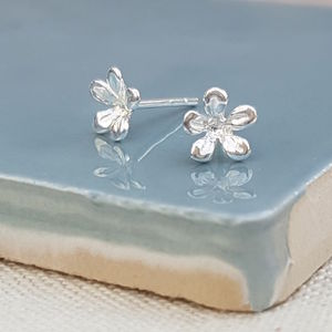 Sterling Silver Flower Studs - earrings