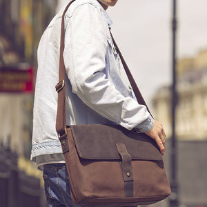 Waxed Canvas And Leather Messenger Bag - bags