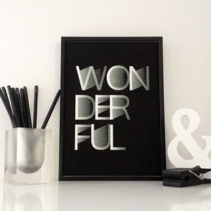 Wonderful Typography Art Print - new in prints & art
