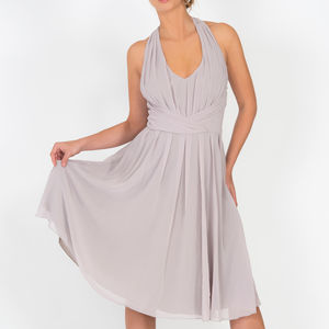 Marilyn Chiffon Party Dress Grey - dresses