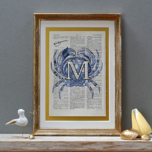 Personalised Crab Letter Print - pictures & prints for children
