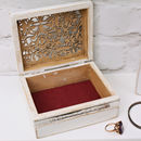 Burgundy lining inside shabby trinket box