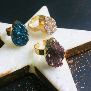 Titanium Quartz Druzy Ring - statement jewellery