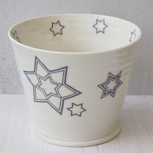 Hand Thrown Porcelain Metropolis Star Indoor Plant Pot - pots & planters