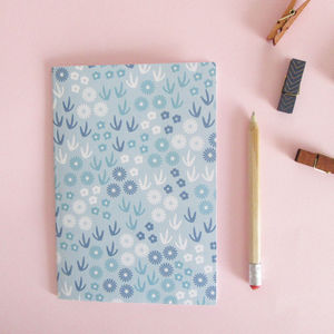 A5 Botanical Patterned Notebook Or Journal In Blue