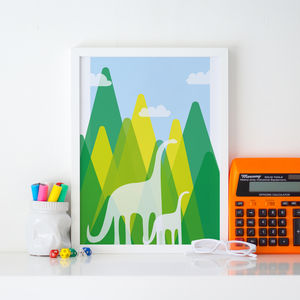 Dinosaur Children's Illustration Print - children's room