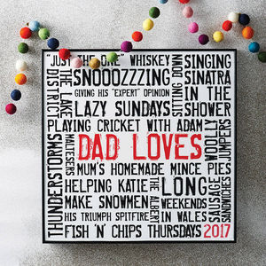 Personalised 'Loves' Typographic Artwork - our top 50 prints for dad