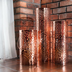 Copper Moroccan Lantern Candle Holder - lighting