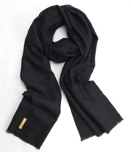 100% Cashmere Wrap Scarf Black In Himalayan Cashmere - hats, scarves & gloves