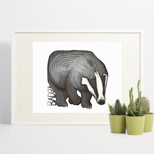 Badger Print - children's pictures & paintings