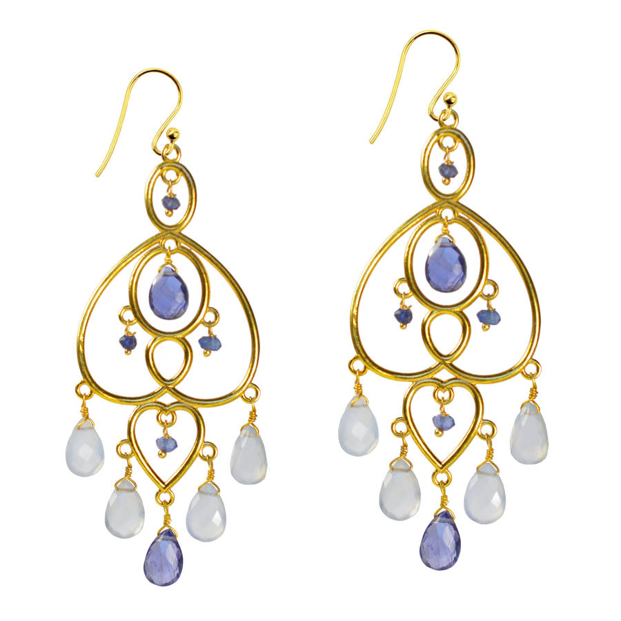 amelie chandelier earrings apatite iolite by sushilla ...