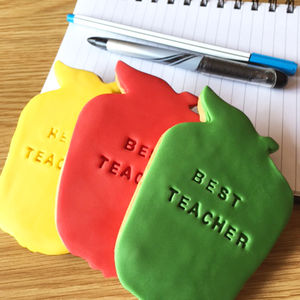 Handmade Apple Shaped Teacher Biscuits - biscuits and cookies