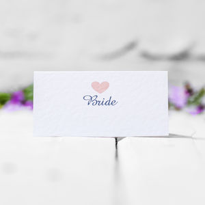 Personalised Love Heart Place Cards