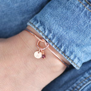 Rose Gold Friendship Knot Bangle - august birthstone