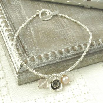 Antique Rose Charm Bracelet