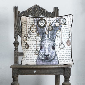 White Rabbit Alice In Wonderland Cushion - bedroom