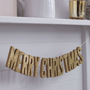 Merry Christmas Gold Glitter Wooden Bunting - garlands & bunting