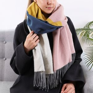 Embroidered Multicoloured Block Blanket Scarf - womens