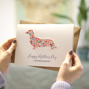 Personalised Mother's Day Liberty Sausage Dog Card