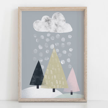 Snow Mountain Modern Children's Nursery Print