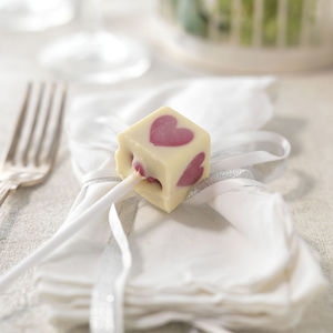 Pink Heart Lolly Chocolate Wedding Favours, Set Of 20