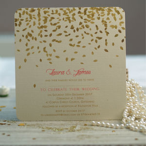 'Gold Leaves Design Wedding Invitations' - invitations