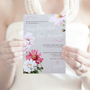 Pink And Grey Floral Wedding Stationery Collection