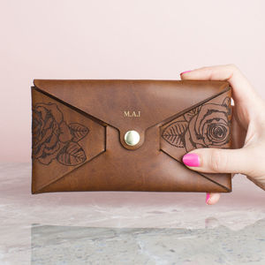 Personalised Leather Purse Wallet Rose