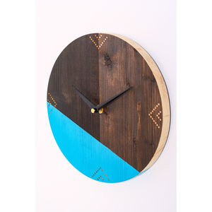 Pop Of Colour Reclaimed Wood Clock - clocks